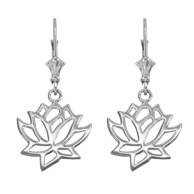 14K White Gold Lotus Flower Leverback Earrings