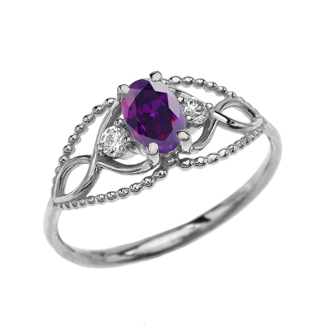 Elegant Beaded Solitaire Ring With Amethyst Centerstone and White Topaz in White Gold