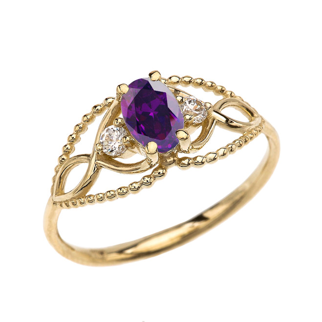 Elegant Beaded Solitaire Ring With Amethyst Centerstone and White Topaz in Yellow Gold