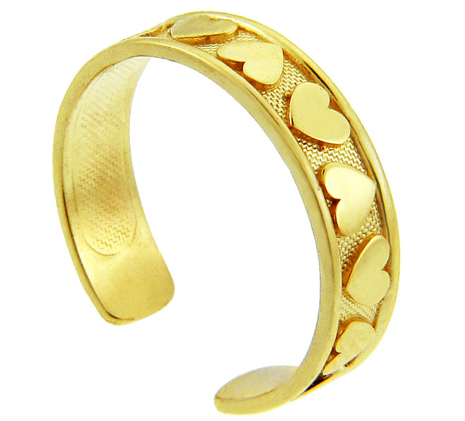Hearts Yellow Gold Toe Ring