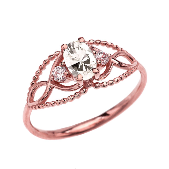 Elegant Beaded Solitaire Ring With April Birthstone CZ Centerstone and White Topaz in Rose Gold