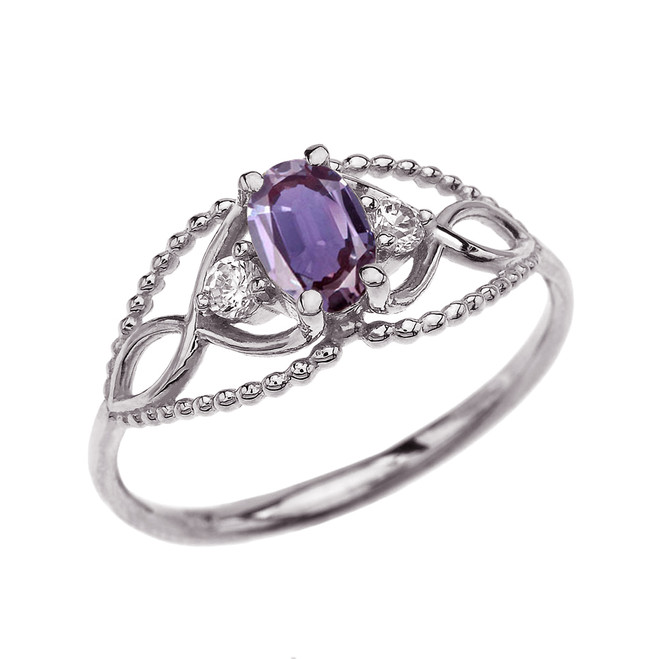 Elegant Beaded Solitaire Ring With June Birthstone Purple CZ Centerstone and White Topaz in White Gold