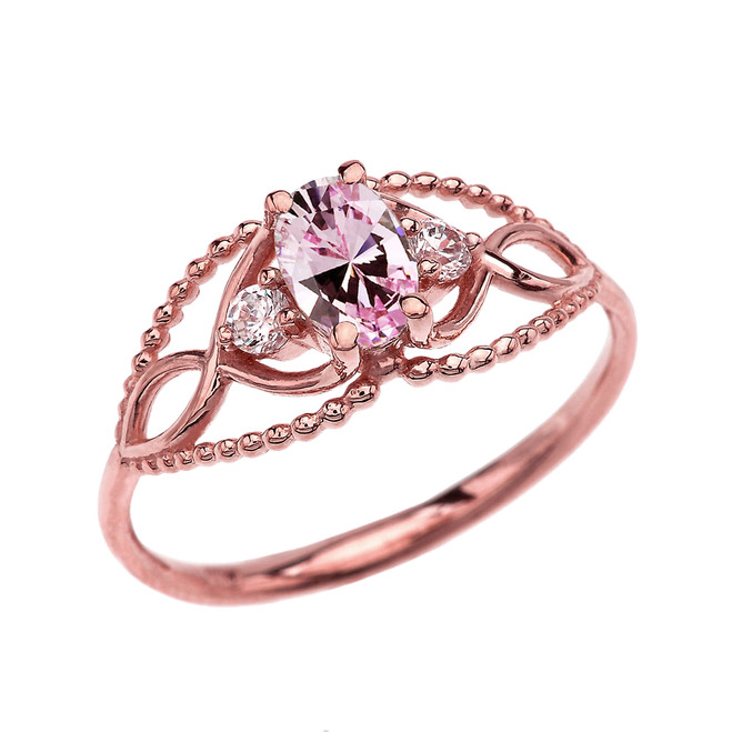 Elegant Beaded Solitaire Ring With October Birthstone Pink CZ Centerstone and White Topaz in Rose Gold