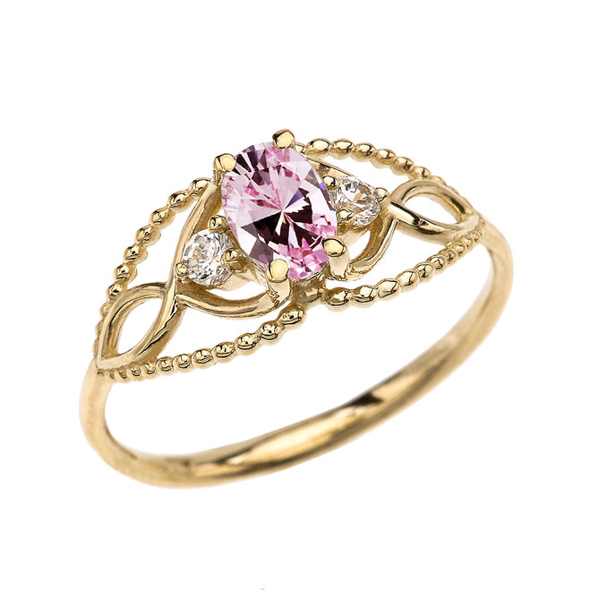 Elegant Beaded Solitaire Ring With October Birthstone Pink CZ Centerstone and White Topaz in Yellow Gold