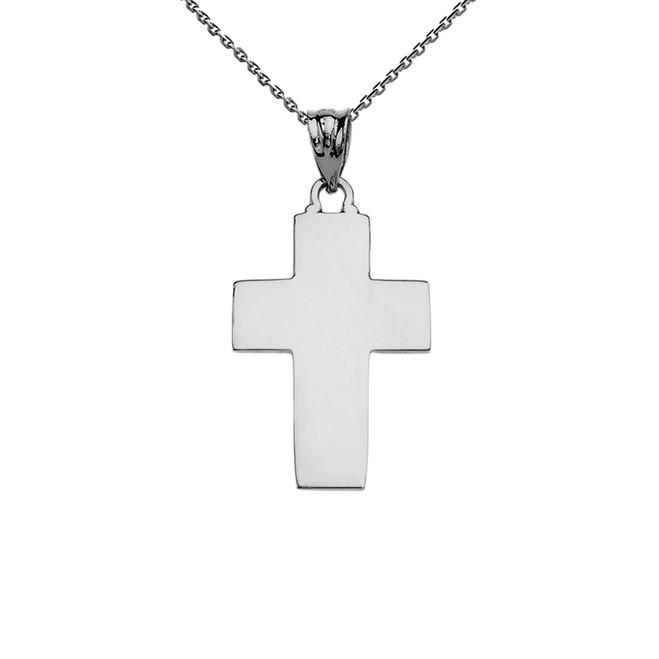 Elegant High Polish Cross White Gold Pendant Necklace