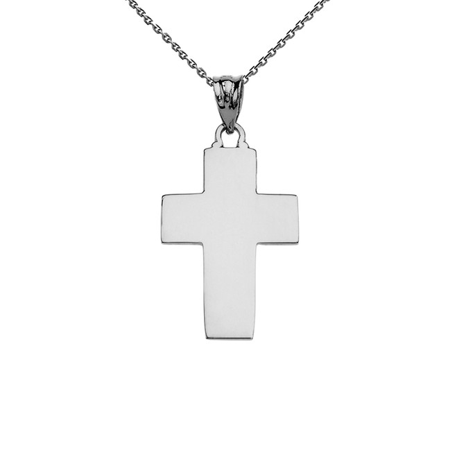 Elegant High Polish Cross White Gold Pendant Necklace