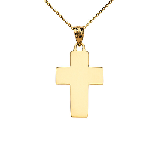 Elegant High Polish Cross Yellow Gold Pendant Necklace