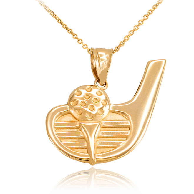 Yellow Gold Golf Club Ball Pendant Necklace