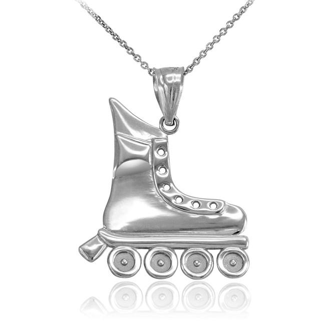 Sterling Silver Roller Skates Pendant Necklace