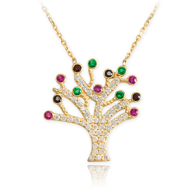 14K Gold Multicolor CZ Pave Tree of Life Adjustable Necklace