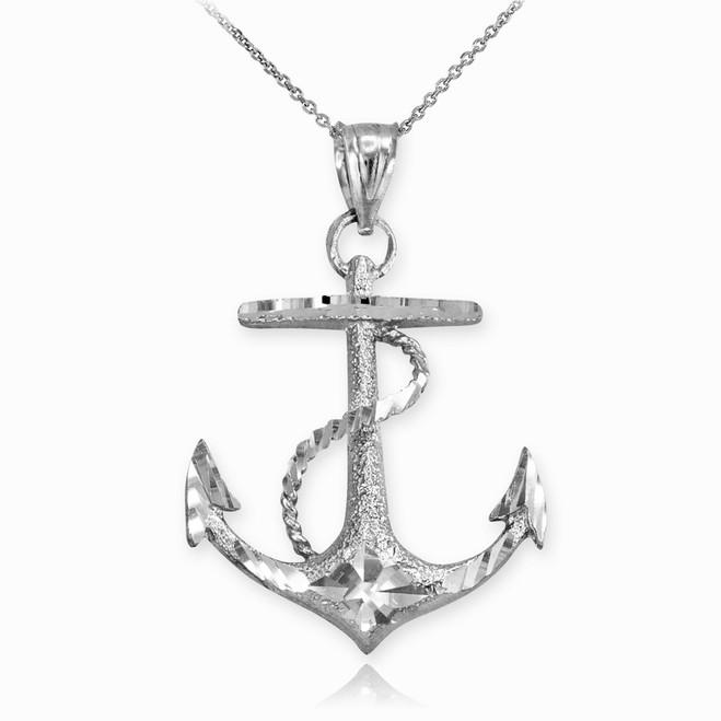 Textured White Gold Mariner Anchor Pendant Necklace