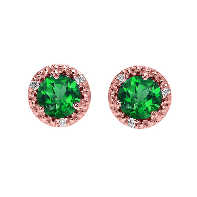 Halo Stud Earrings in Rose Gold with Solitaire Lab Created Emerald and Diamonds