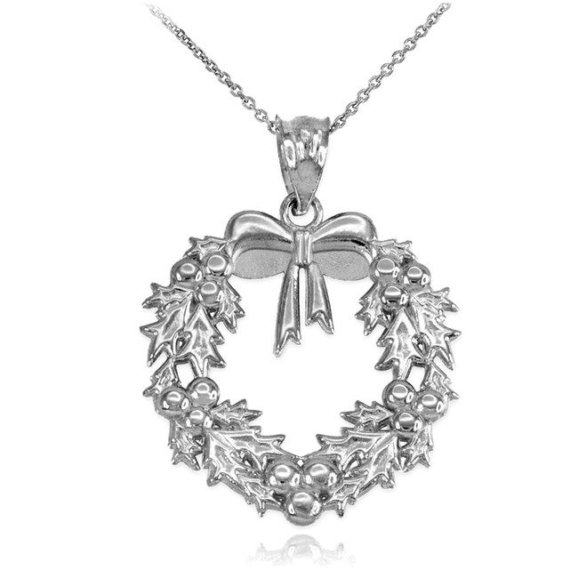 Sterling silver christmas wreath pendant necklace for Sterling silver christmas jewelry