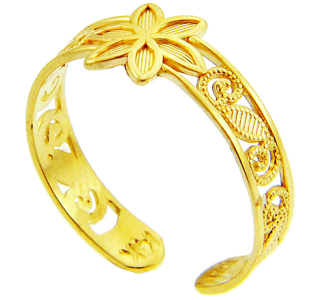 Floral Yellow Gold Toe Ring