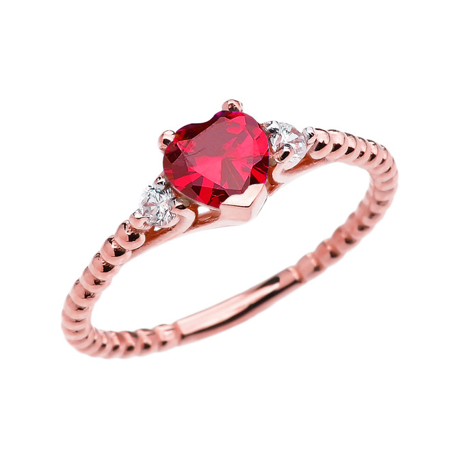 July Birthstone (LCR) Ruby Solitaire Heart And White Topaz Rose Gold Beaded Band Promise Ring