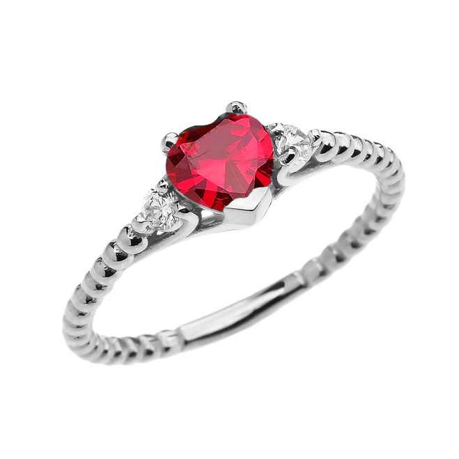 July Birthstone (LCR) Ruby Solitaire Heart And White Topaz White Gold Beaded Band Promise Ring