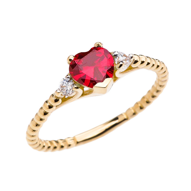 July Birthstone (LCR) Ruby Solitaire Heart And White Topaz Yellow Gold Beaded Band Promise Ring