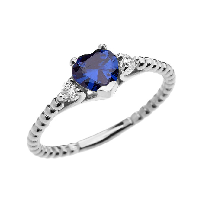 September Birthstone Blue CZ Solitaire Heart And White Topaz White Gold Beaded Band Promise Ring