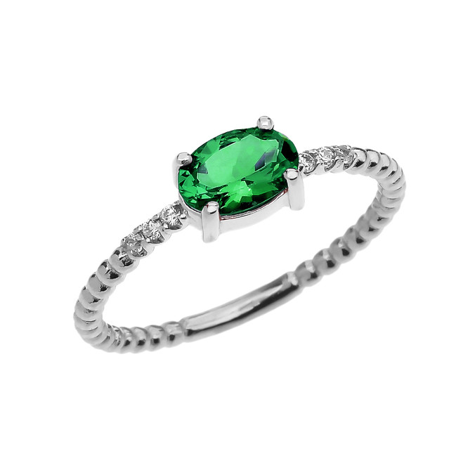 Diamond Beaded Band Ring With Genuine Emerald Centerstone in White Gold