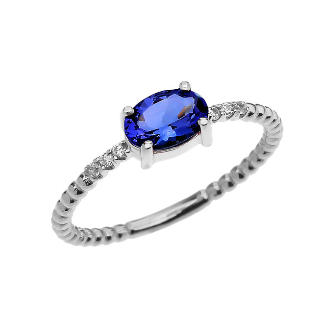 Diamond Beaded Band Ring With September Birthstone (LCS) Sapphire Centerstone in White Gold