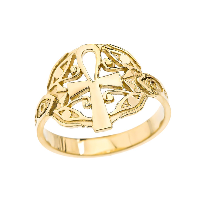 Egyptian Ankh Cross with Eye of Horus Yellow Gold Ring