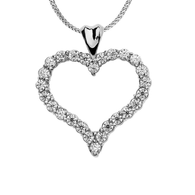 1.5 Carat Cubic Zirconia White Gold Heart Pendant Necklace