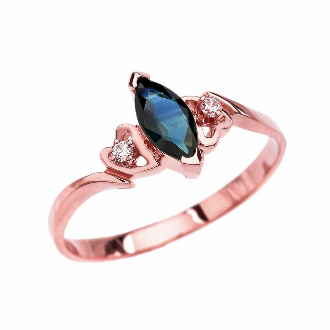 Rose Gold Solitaire Marquise Sapphire And Diamonds Engagement/Proposal Ring