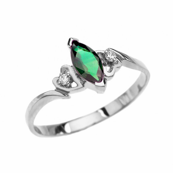 White Gold Diamond And Solitaire Marquise (LCE) Emerald Engagement/Proposal Ring