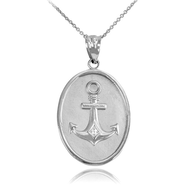 White Gold Anchor Pendant Necklace