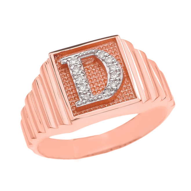 Rose Gold Diamond Initial D Ring