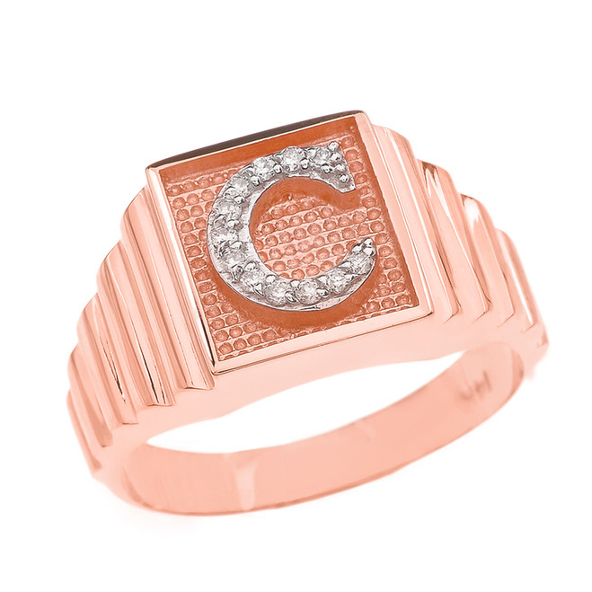 Rose Gold Diamond Initial C Ring
