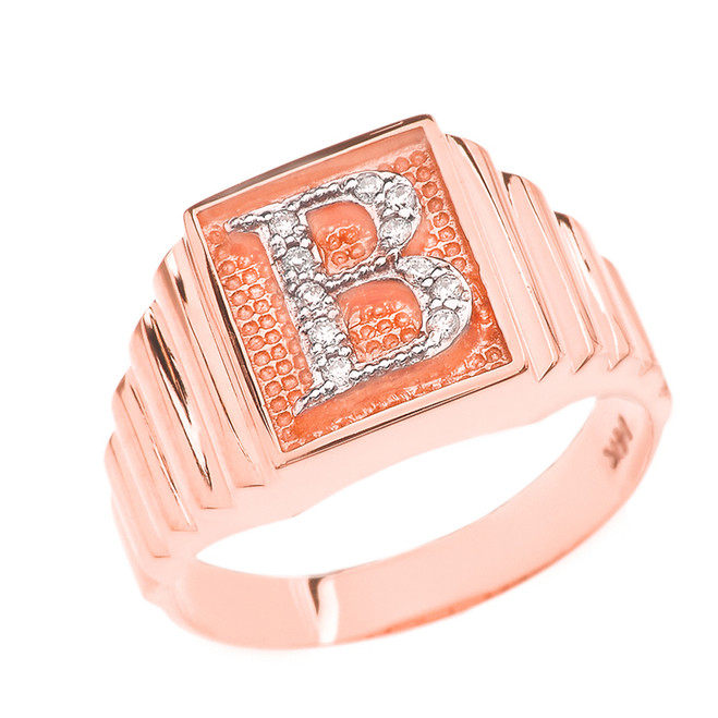 Rose Gold Diamond Initial B Ring