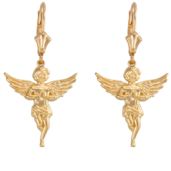 14k Yellow Gold Textured Praying Angels Earrings