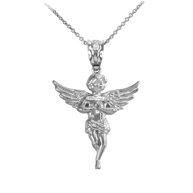 White Gold Textured Praying Angel Pendant Necklace