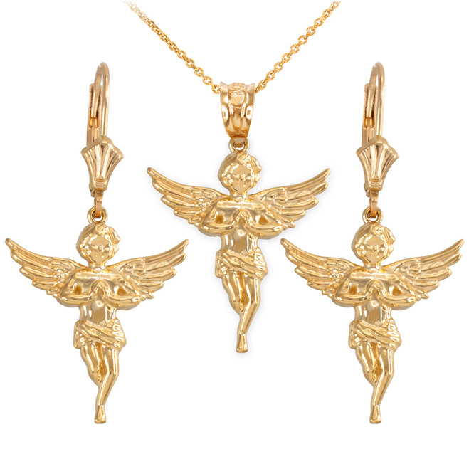14k Yellow Gold Textured Praying Angel Necklace Earring Set