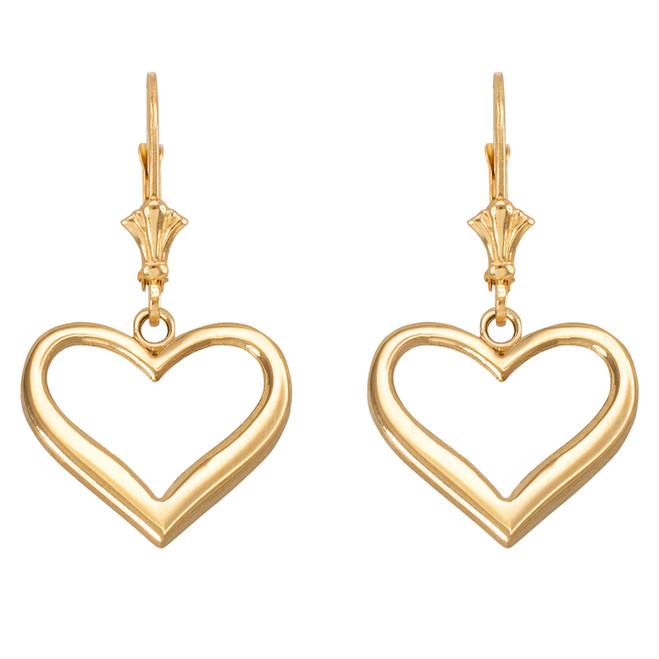 14k Yellow Gold Polished Open Heart Earrings