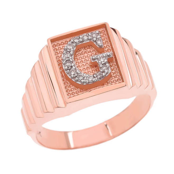 Rose Gold Diamond Initial G Ring