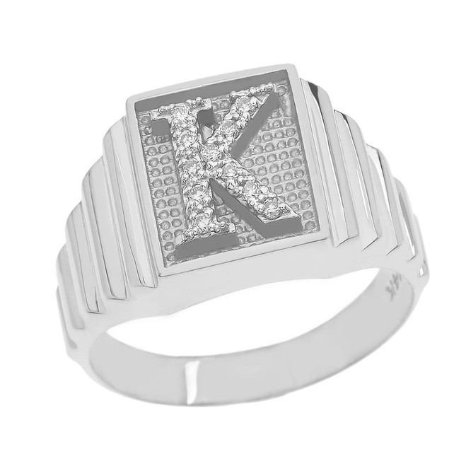 Sterling Silver Diamond Initial K Ring