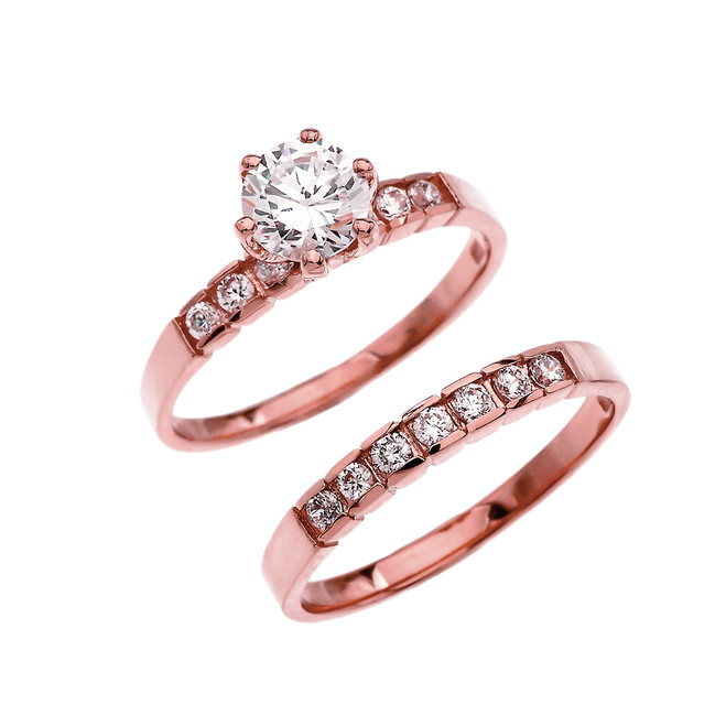 Rose Gold Channel Set Diamond Engagement And Wedding Ring Set With 1 Carat White Topaz Center stone