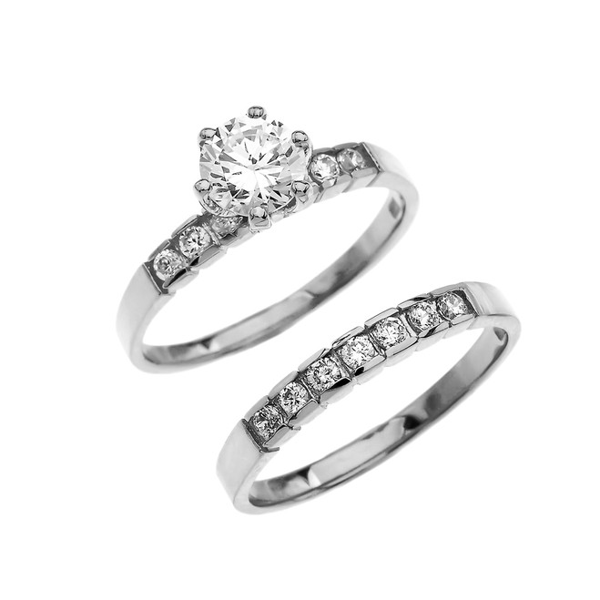 White Gold Channel Set Diamond Engagement And Wedding Ring Set With 1 Carat White Topaz Center stone