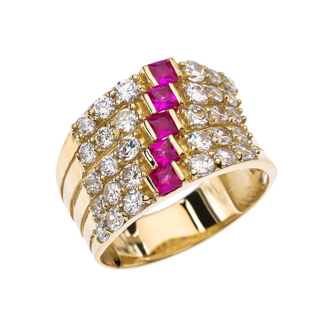 Fancy Five Raw Red and White CZ Yellow Gold Modern Ring