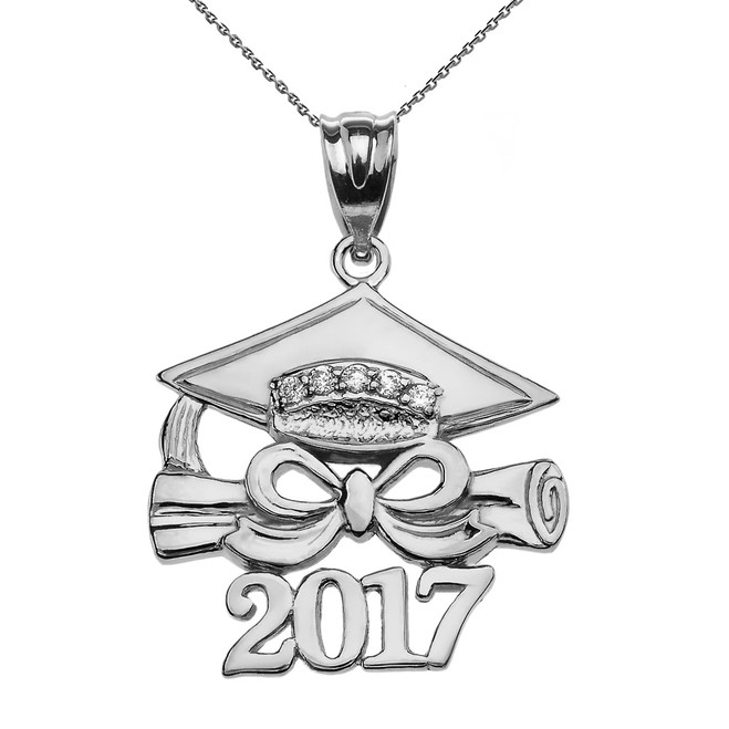 White Gold Class of 2017 Graduation Cap Pendant Necklace with Diamond