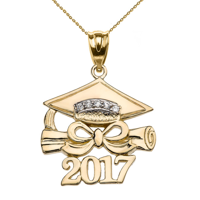 Yellow Gold Class of 2017 Graduation Cap Pendant Necklace with Diamond