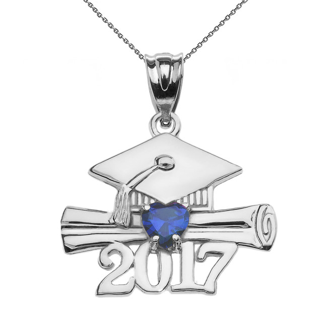 White Gold Heart September Birthstone Blue CZ Class of 2017 Graduation Pendant Necklace