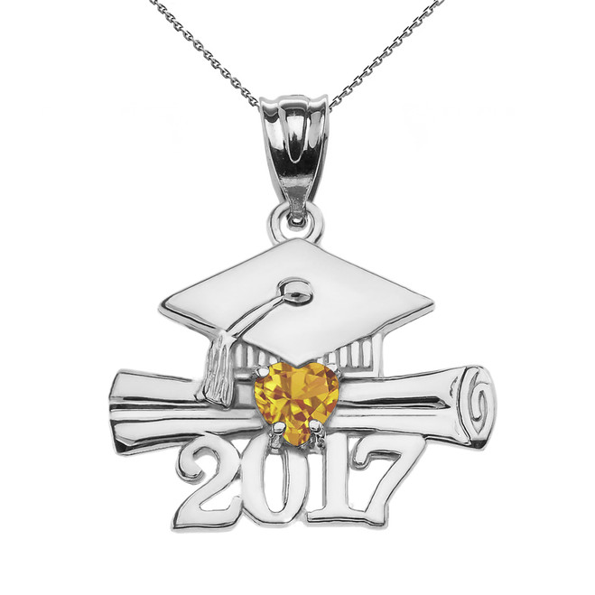 Sterling Silver Heart November Birthstone Yellow CZ Class of 2017 Graduation Pendant Necklace