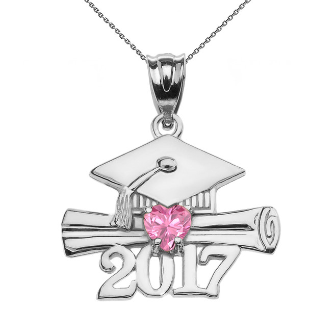 Sterling Silver Heart October Birthstone Pink CZ Class of 2017 Graduation Pendant Necklace