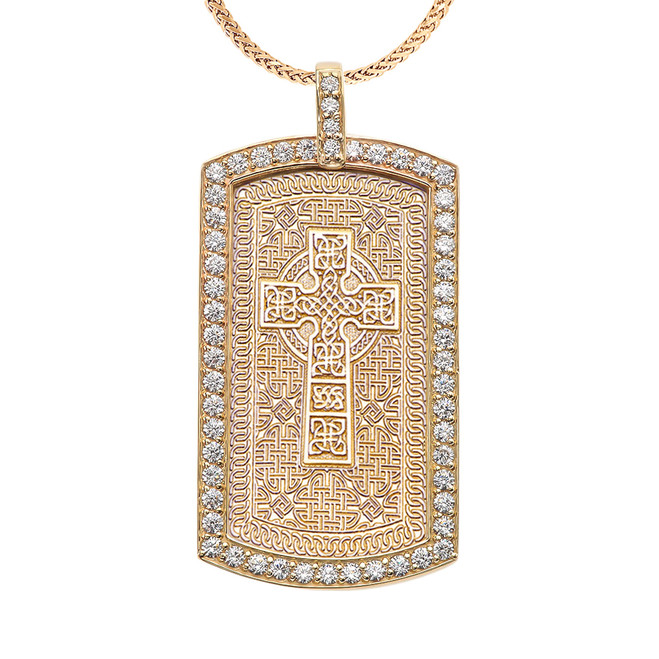 Celtic Cross Trinity Knot  Diamond Yellow Gold Dog Tag Pendant Necklace