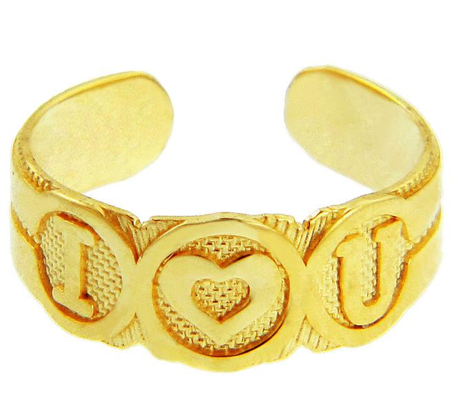 "Yellow Gold Bold ""I Heart U"" Toe Ring"