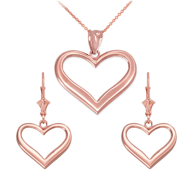14K Rose Gold Polished Open Heart Necklace Earring Set