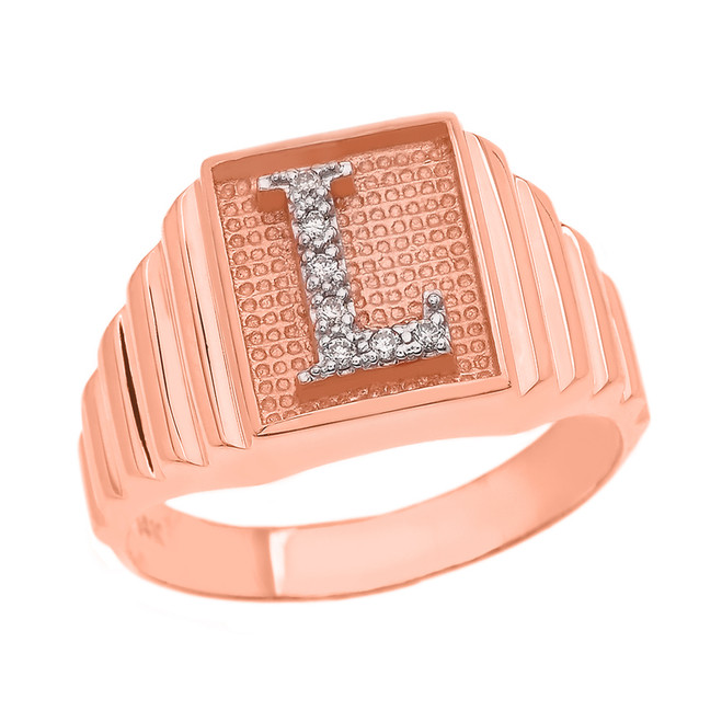 Rose Gold Diamond Initial L  Ring